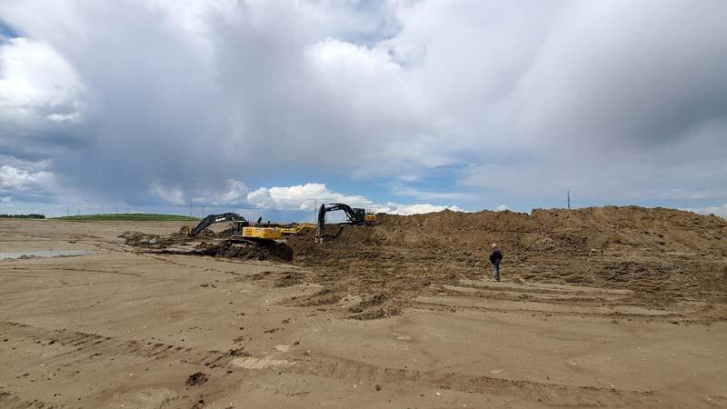 Excavators at Waterford, Alberta